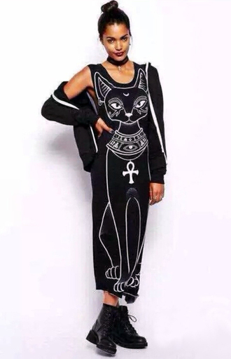black dress boho dress dress corilynn long dress long cats hipster egyptian