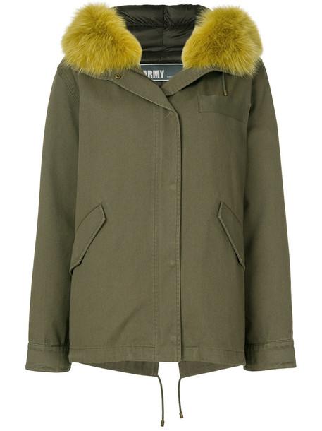Army Yves Salomon jacket feathers oversized fur fox women cotton green