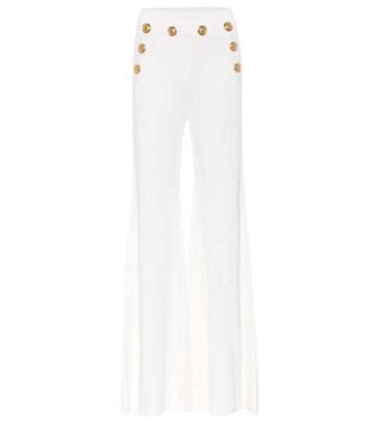 Balmain Embellished high-rise pants in white