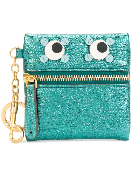 Anya Hindmarch - Circulus Eyes metallic coin purse - women - Leather - One Size, Blue, Leather