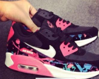 shoes nike shoes nike air max black pink nike air max 90 nike air max 90 floral black pink nike air max 90 floral nike black-pink