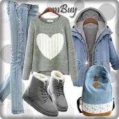 sweater,grey,warm,fall outfits,heart,girl,shoes