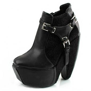 Western Style Horse Hair Montage Platform Fashion Boots Black