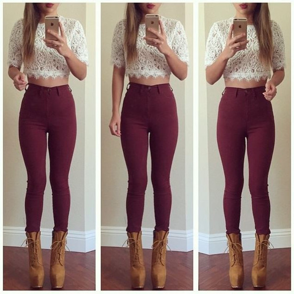 Super High Waist Denim Skinnies Burgundy Fashion Nova