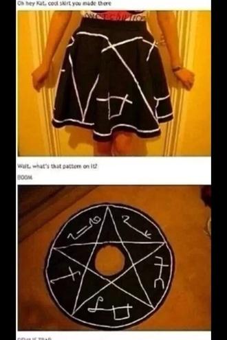 skirt style black satan wiccan pagen circle skirt pentagram