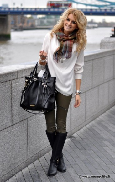 pants green pants bag boots black boots white sweater white scarf plaid scarf black bag winter sweater