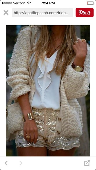 shorts sparkle gold cream