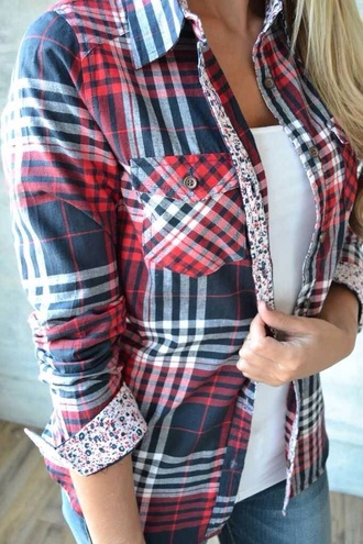 shirt plaid blue red white flannel flowers cuff collar button button up fashion pretty cute love girl pinterest cool tank top