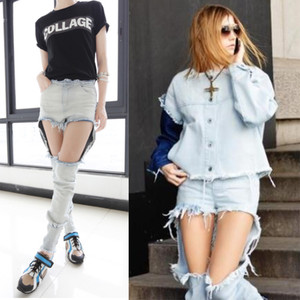 Slim destroyed skinny ripped denim jeans hole distressed pants wash white punk