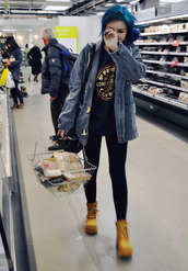 yakka,timberland,yellow,beige,jacket,emo,denim jacket,grunge,blue hair,shoes,shirt,t-shirt,black,casual,marina and the diamonds,coat,top,style,cool girl style,indie,leggings,boots,hipster,soft grunge,laid back,tumblr,scene,jeanjacket,vintage,jumper,sweater,forever 21,blue jean coat,grunge jean jacket,cute coat,hooded jacket,denim,hood,jeans,blue,blouse,cardigan,hair,band,cute,dark,punk,ripped jeans,jean jackets,clothes,make-up,accessories,spring jacket,comfy,alternative,pintrest,love,girly,heels,grunge t-shirt,girl,cute outfits
