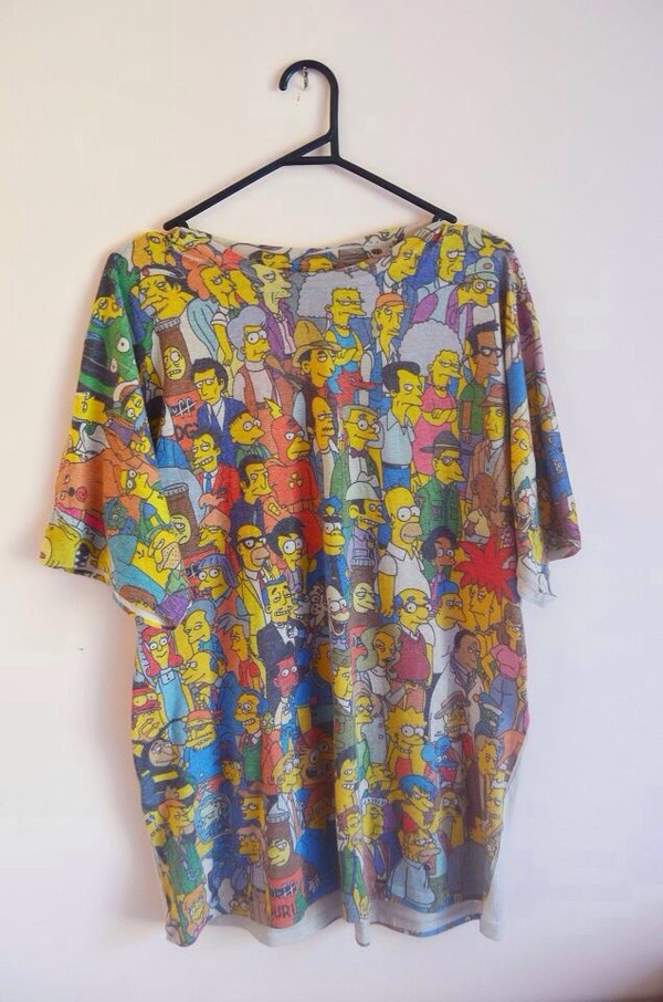 t-shirt the simpsons colorful characters homer maggie bart simpson t-shirt oversized t-shirt
