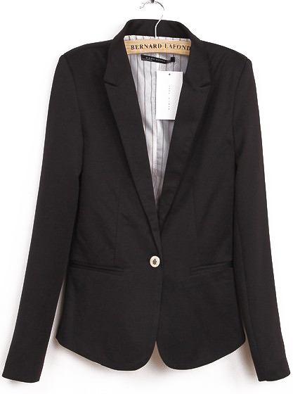 Black Lapel Long Sleeve Single Button Blazer - Sheinside.com