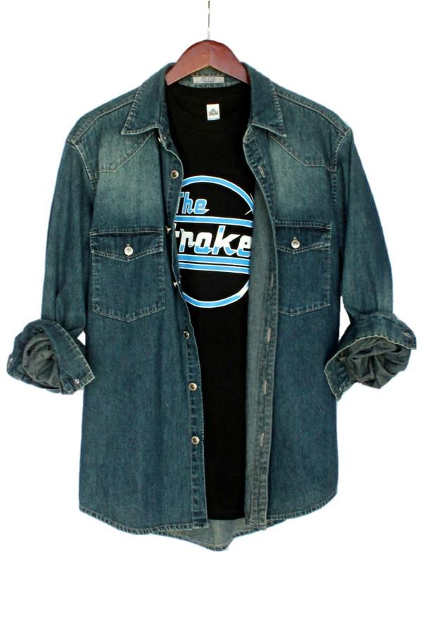 anchor blue justvu.com denim denim shirt menswear mens shirt fall outfits winter outfits clothes the strokes band t-shirt