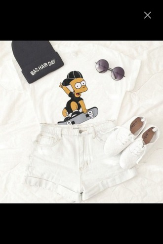 bart simpson high waisted shorts beanie white top round sunglasses