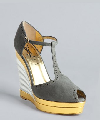 Yves Saint Laurent grey suede 'Robyn 105' t-strap fan wedges | BLUEFLY up to 70% off designer brands
