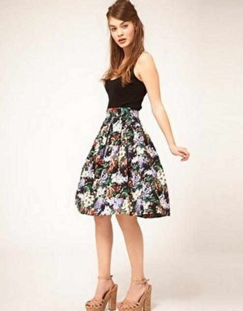 skirt flowers jupe midi