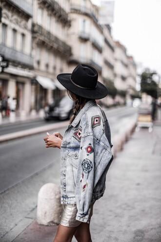 jacket tumblr denim jacket denim embellished embellished jacket felt hat hat skirt mini skirt gold skirt metallic