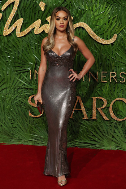 dress metallic gown prom dress rita ora