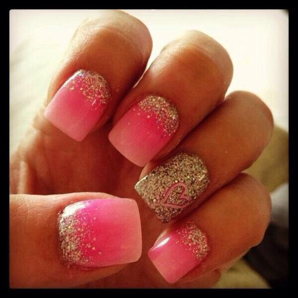 nail polish pink nails silver glitter nails art