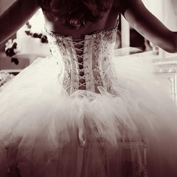 Dress white dress ballet dress corset top lace dress for Lace corset top wedding dress