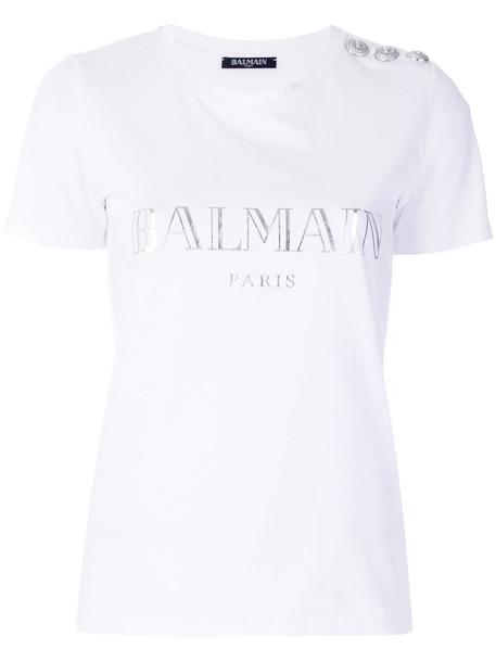 Balmain t-shirt shirt t-shirt women white cotton print top