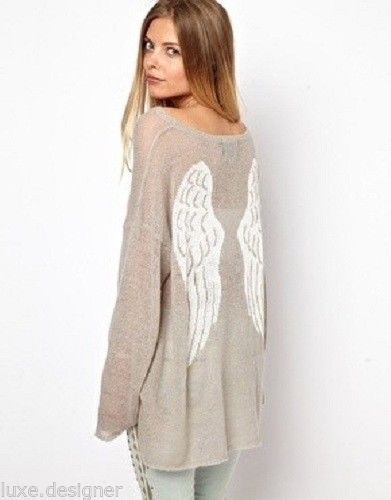 WILDFOX Couture Guardian Angel Ringo Sweater Dreamy Wings 100 Authentic XS | eBay