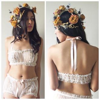 underwear white ribbon see through