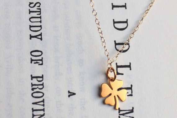 Four Leaf Clover Gold Charm Necklace by MooseAndNigel on Etsy