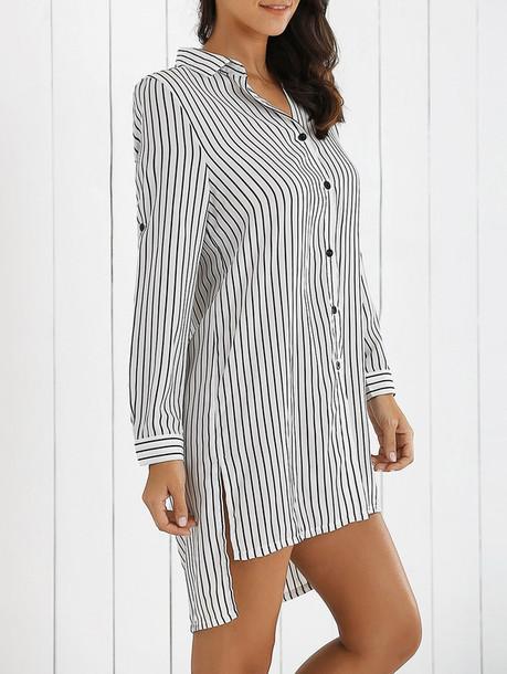 dress fashion style trendy blouse stripes long sleeves zaful