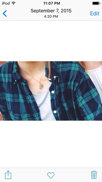 shirt green and blue white buttons flannel shirt