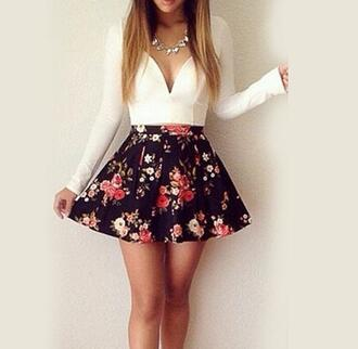 dress mini dress short dress skater dress floral dress floral flower dress gorgeous style ootd summer dress deep neck v neck v neck dress necklace jewels haie hairstyles make-up model luxury summer outfits