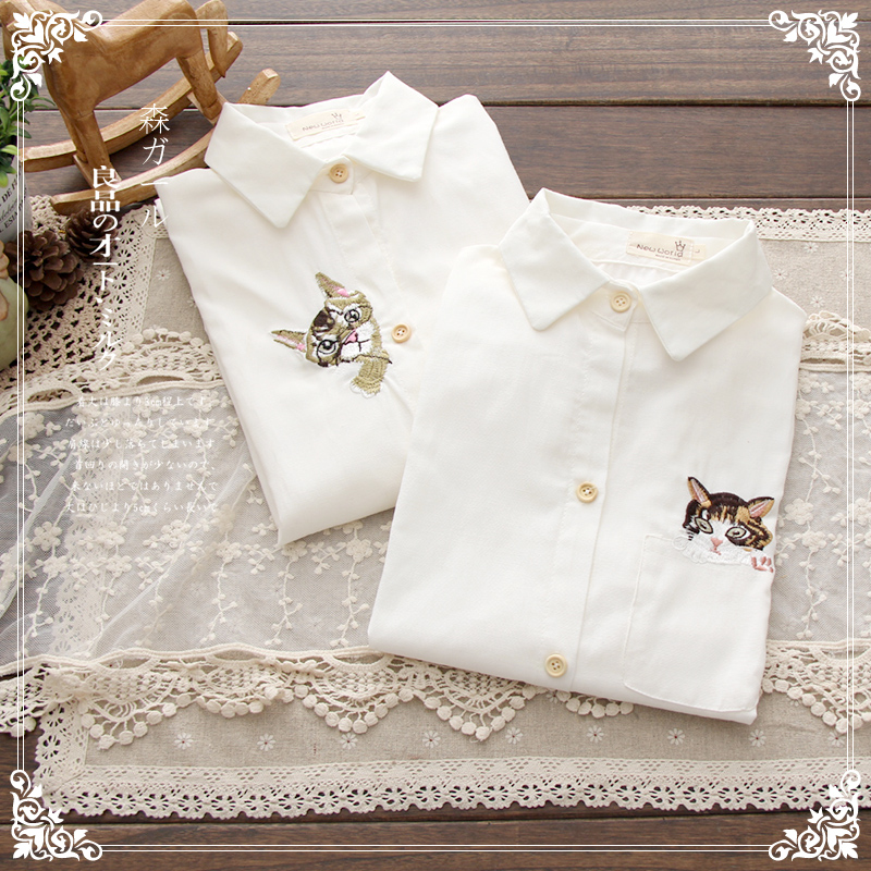Free shipping Small fresh vintage embroidery pocket cat kitten pattern long sleeve shirt white-inBlouses & Shirts from Apparel & Accessories on Aliexpress.com