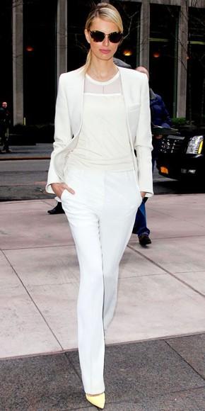 white blazer blouse white blouse white slacks sunglasses shoes