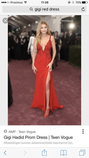 Dress Gigi Hadid Red Dress Prom Dress Long Dress Beautiful