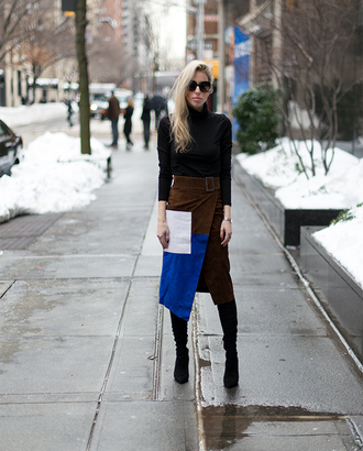 yael steren blogger suede skirt asymmetrical skirt winter skirt colorblock