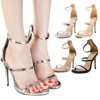 shoes sandals high heels sandals shoes metallic beige nude pink black silver gold open toes heels pumps stilettos