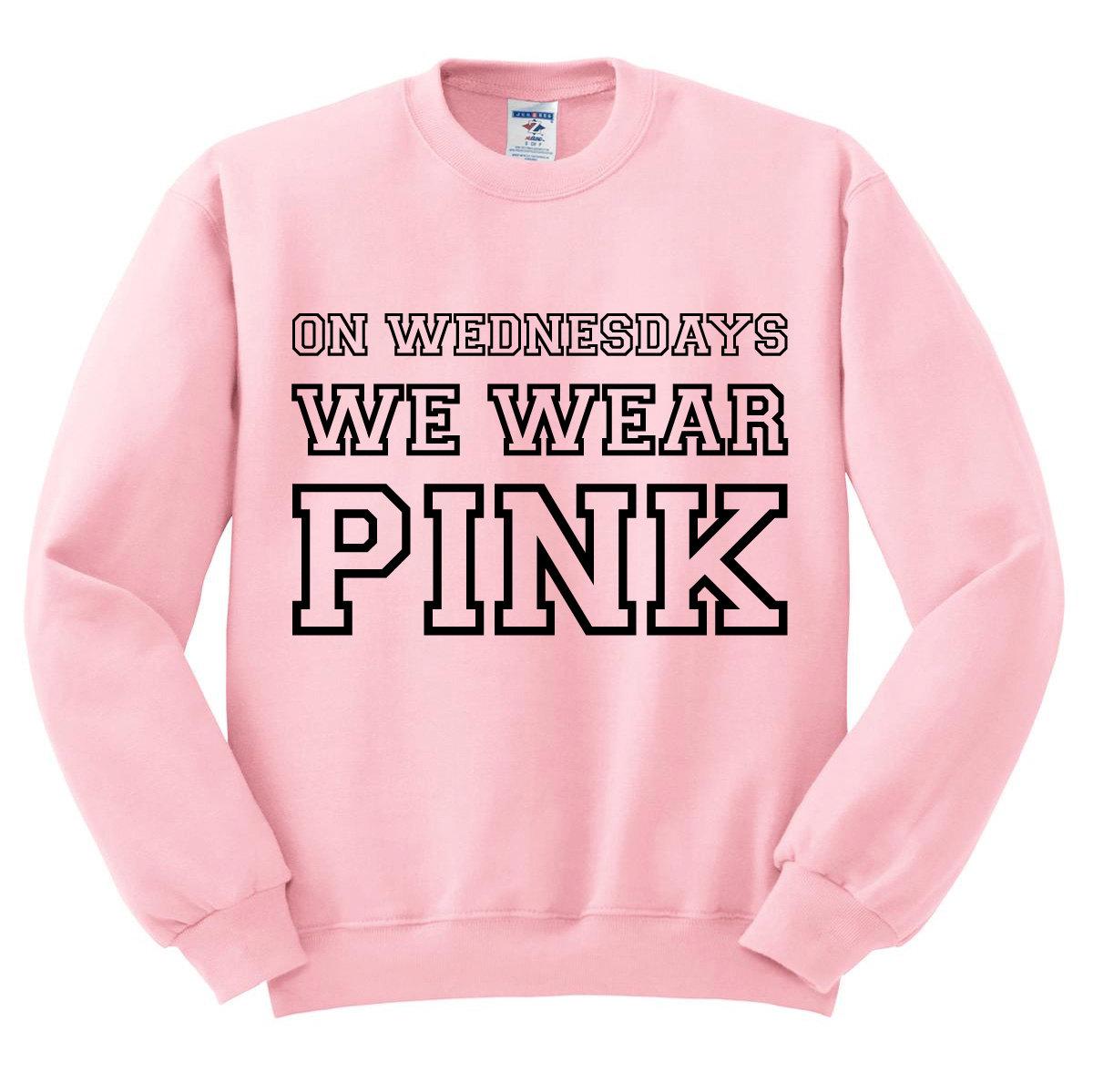 Crewneck On Wednesdays We Wear Pink Mean Girls Sweatshirt Sweater ...