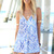 Blue Jump Suits/Rompers - Blue and White Printed V-Neck | UsTrendy