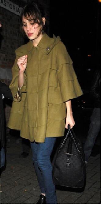 coat green green coat green cape alexa chung amy winehouse concert olive green 2007