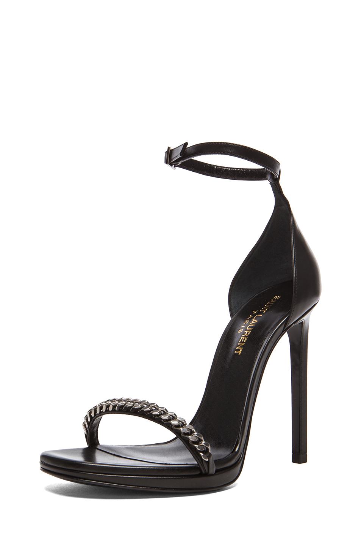Saint Laurent | Chain Jane Platform Leather Heels in Black