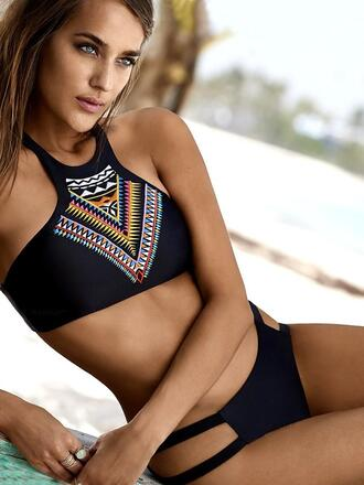 swimwear dressfo black bikini bikini top fashion trendy cute tribal pattern aztec high neck halter top dope swimwear