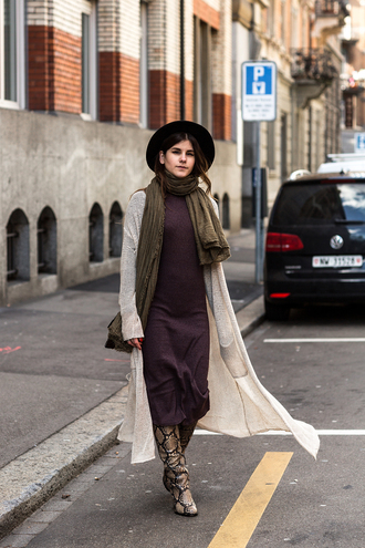 the fashion fraction blogger cardigan dress shoes bag hat scarf