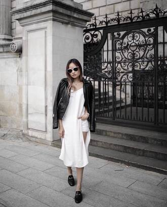 dress tumblr midi dress slip dress white dress shorts loafers jacket leather jacket black leather jacket
