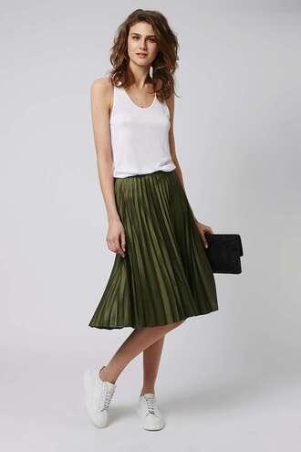skirt pleated pleated skirt olive green