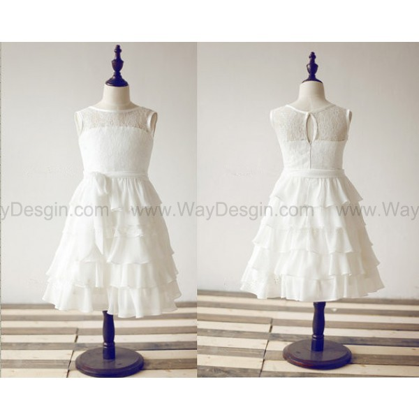 ivory lace chiffon flower girl dress flower girl dress flower girl dress 2014 white flower girl dress white dress dress