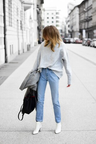sweater tumblr knit knitwear knitted sweater grey sweater denim jeans blue jeans boots white boots