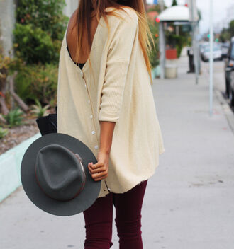sweater vest jacket beige summer hippie hat jeans low back pants clothes shorts oversized sweater large top felt hat shirt blouse cardigan yellow cool