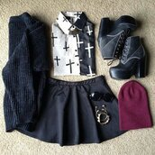 blouse,sweater,sunglasses,skater skirt,skirt,jewels,shoes,black,short,black skirt,a line,a line skirt,dress,white,fashion,grunge,soft grunge,vans,pastel grunge,cross,shirt,cute,black and white,emo,goth,t-shirt,