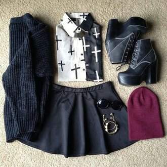 blouse sweater sunglasses skater skirt skirt jewels shoes black short black skirt a line a line skirt dress white fashion grunge soft grunge vans pastel grunge goth cross cross top crosses collared shirts black and white blouse