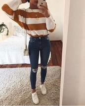 sweater,yellow and white stripes